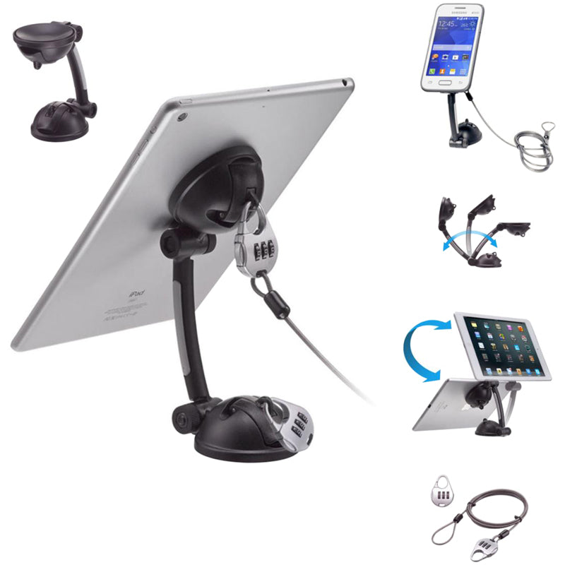 CTA Digital Suction Mount Stand with Theft Deterrent Lock for iPad, Tablets, Smartphones