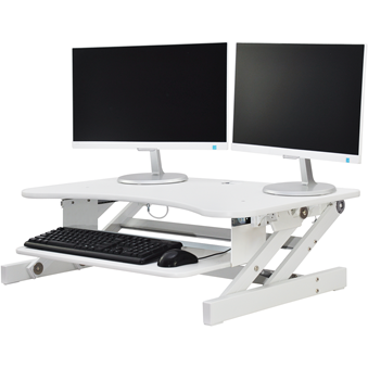 "Rocelco Deluxe 37"" wide Height Adjustable Standing Desk Riser (White)"