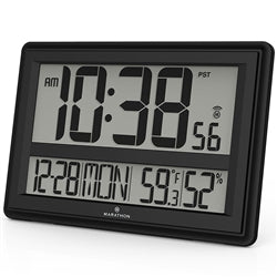 Marathon Elite Series Jumbo Atomic Wall Clock with 6 Time Zones (Black)