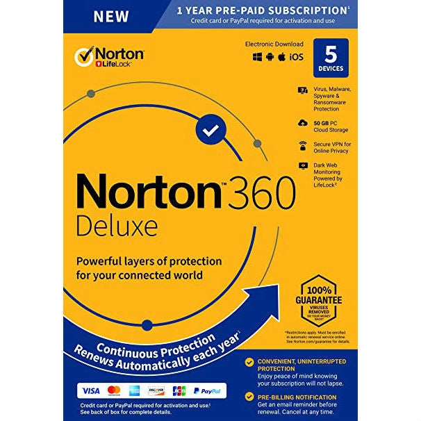 Norton 360 Deluxe for 5 Devices (1 Year) - Retail Box