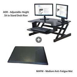 Rocelco Height Adjustable Standing Desk Riser with Medium Anti-Fatigue Mat