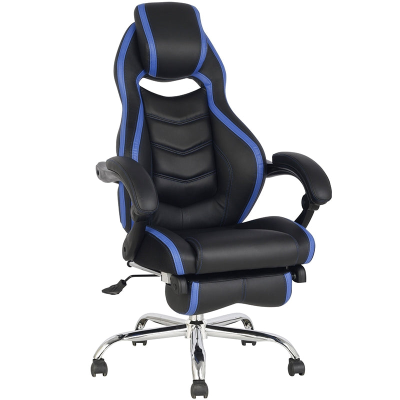 TygerClaw Executive High Back PU Leather Office Chair (Blue)
