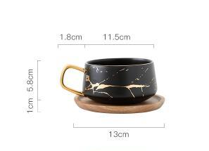 Nordic Coffee Cup and wood saucer set