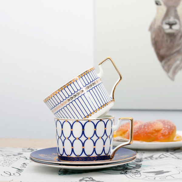 Geometric Ceramic Coffee Cup Set