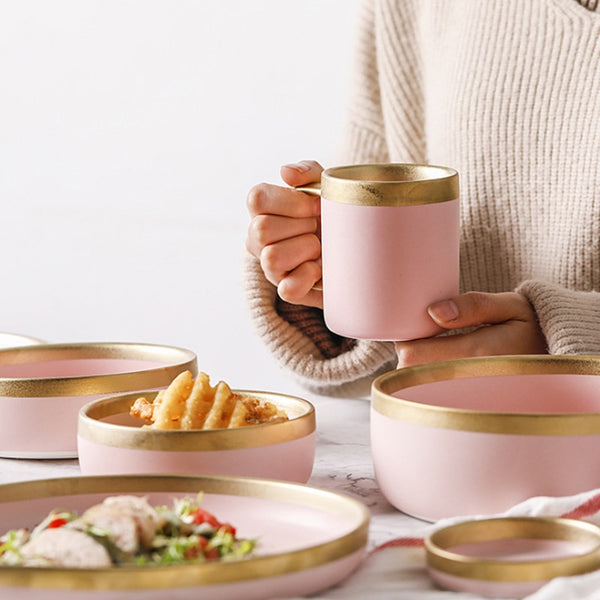 Pink and Gold Ceramic Western Dinnerware
