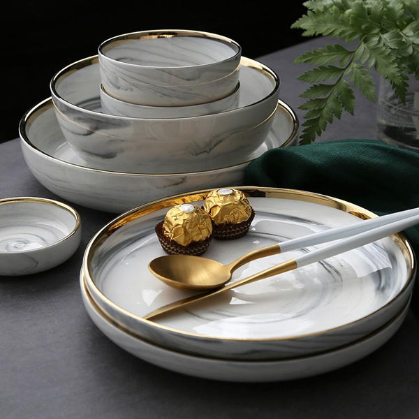White Marble Design Ceramic Dinnerware