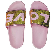 Load image into Gallery viewer, LOVE Reversible Sequin Slides