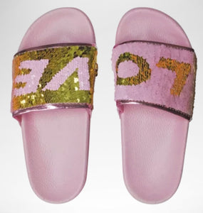 LOVE Reversible Sequin Slides