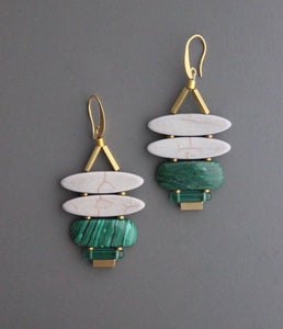 Grey/Green Stone Earrings