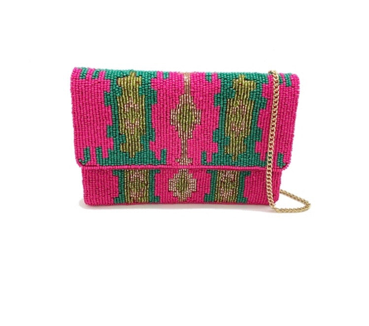 Beaded Fuchsia Mini Clutch