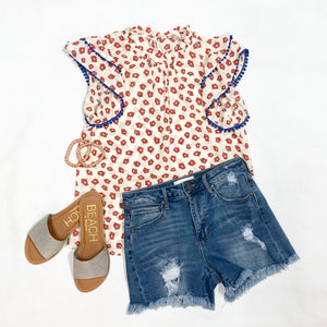 Tiered Flutter Sleeve Top