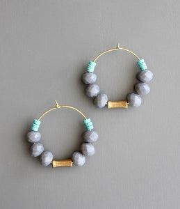 Grey/Turquoise Beaded Hoops