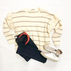 Stripe Sweater with Ruffle Sleeves