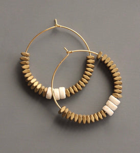Brass/Cream Beaded Hoops
