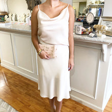 Load image into Gallery viewer, Ivory Satin Midi Skirt