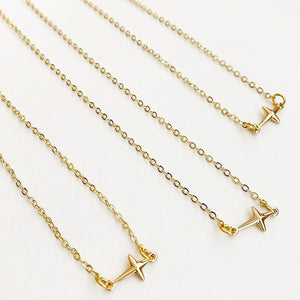 Dainty Sideways Cross Necklace