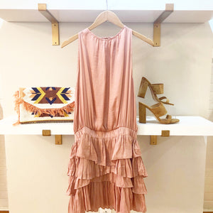 Ruffle Skirt Silky Dress