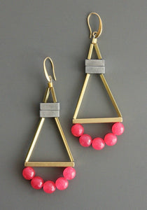 Pink/Grey Aztec Earrings