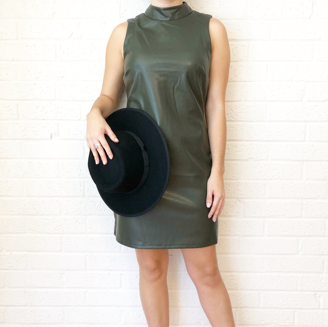 Faux Leather Mod Sheath Dress