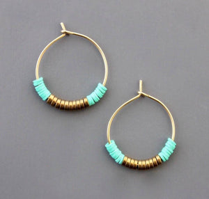 "Green/Gold 1"" Hoop Earrings"