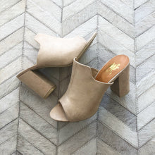 Load image into Gallery viewer, Suede Chunky Heel Slide