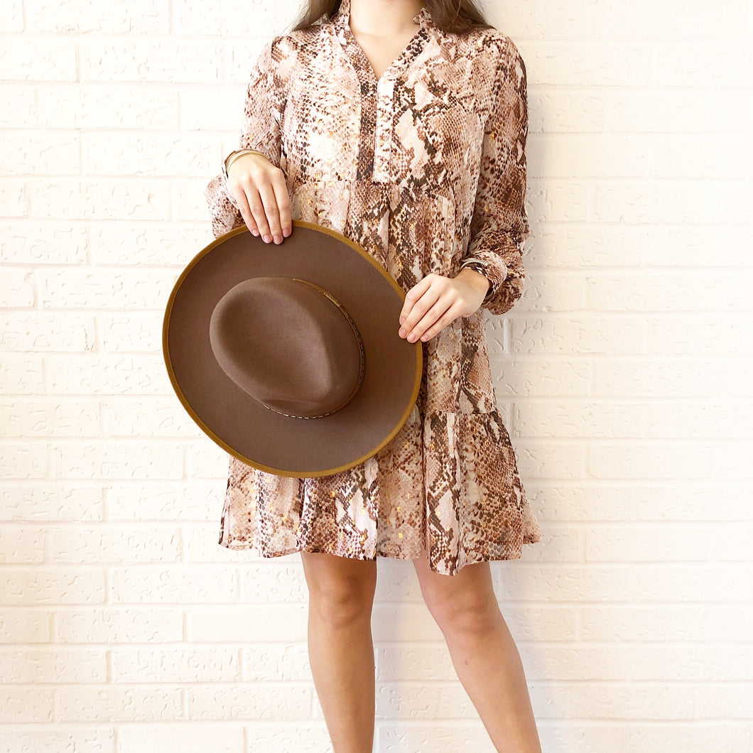 Snake Chiffon L/S Tier Dress