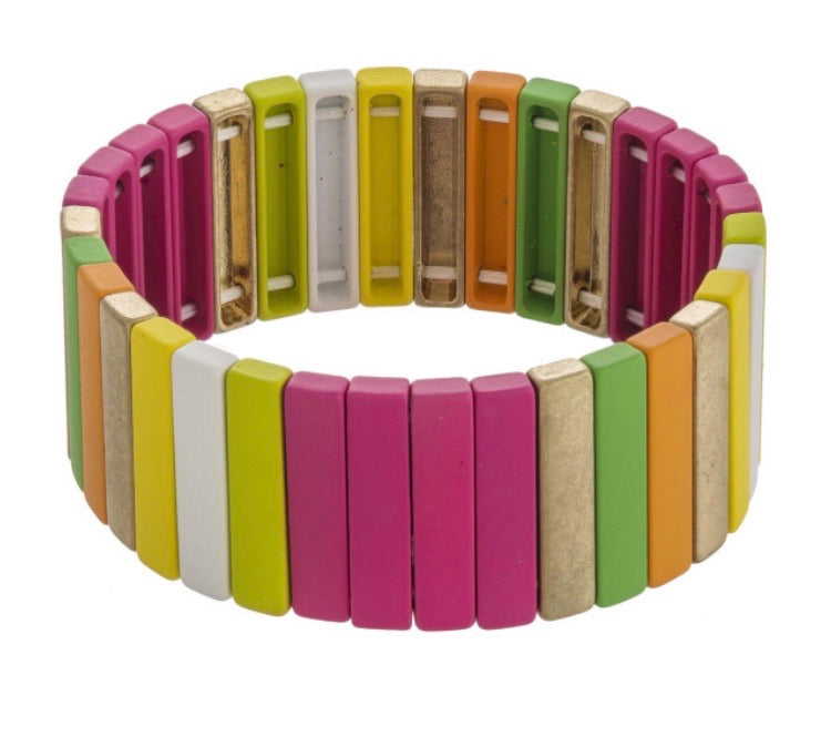 Multicolor Pinstripe Stretch Bracelet