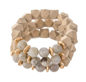 Diamond Faceted  Wood Stretch Bracelet