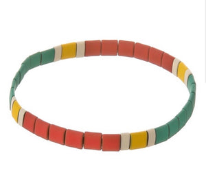 Red & Turquoise Colorblock Bracelet