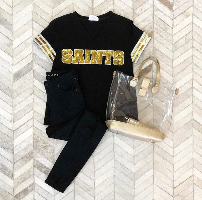 Saints Sequin V Neck Tee