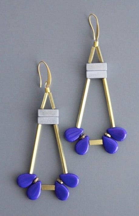 Blue/Grey Aztec Earrings