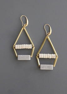 Cream/Grey Stone Earrings