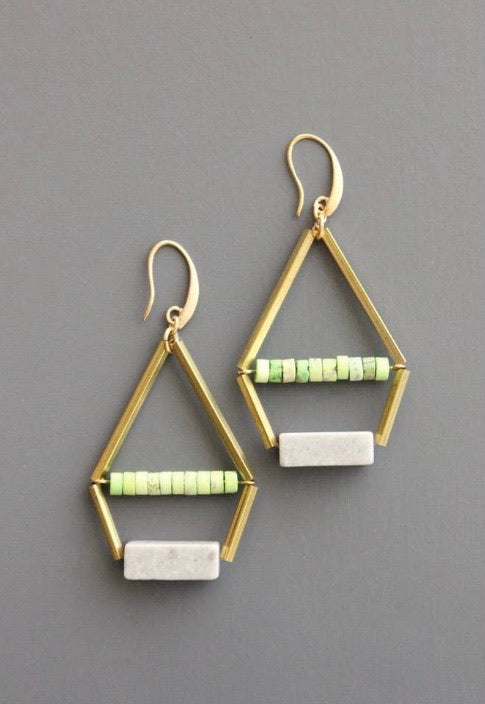 Green/Grey Aztec Earrings