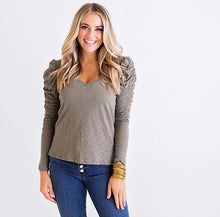 Load image into Gallery viewer, Solid VNeck Puff L/S