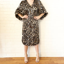 Load image into Gallery viewer, Leopard Satin Midi Dress