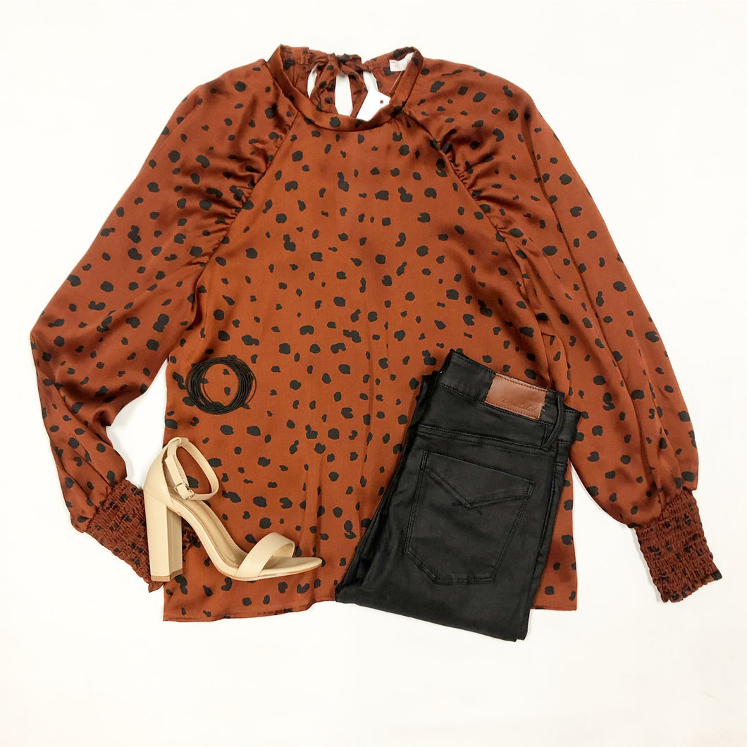 Leopard Satin Puff  Sleeve Top