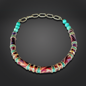 Purple & Aqua Washi Necklace