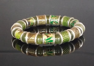 washi green enameled sterling beads with serpentine beads