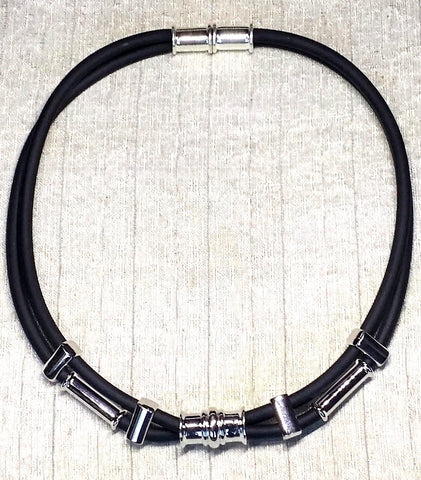 Black & Silver Soft Glass Necklace
