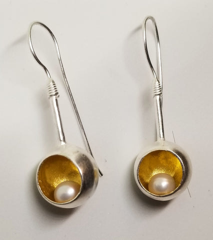 Gold Cup Pearl Earrings
