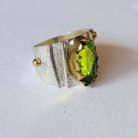 Serated Green Amethyst Ring