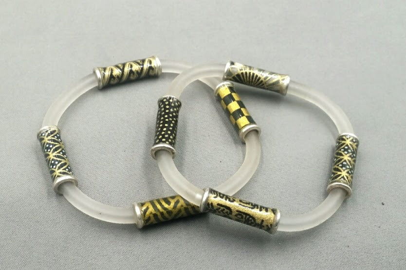 Clear soft glass tubing and washi beaded bracelet. Price is $!30.00 for 1 bracelet.