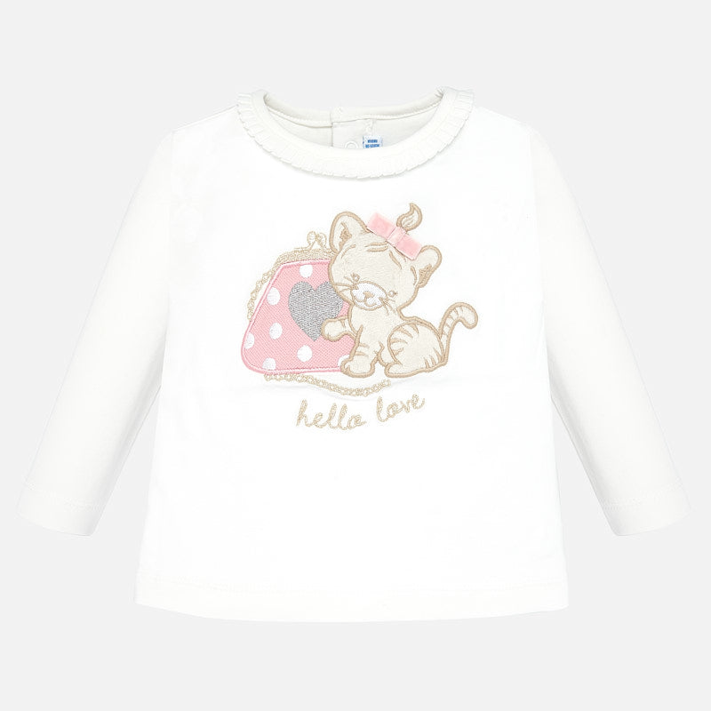Mayoral Singapore Baby Girl T-shirt. Mayoral's cat print t-shirt in white is perfect for dressing up or down. There's a soft cotton finish and a ruffled collar. Pair with sweatpants and trainers from the range, or a skirt and ballet pumps for a more dressy look.