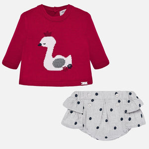 Two-piece set for newborn boys from Mayoral. The red top has a charming swan print and grey shorts have all-over polka dots and an elasticated waistband for easy wear.