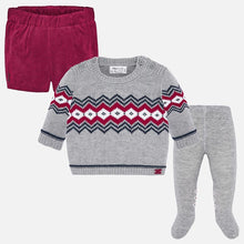 Load image into Gallery viewer, Mayoral Singapore Newborn Boy Outfit Set. Mayoral offers this charming three piece set in grey and red. The top features a graphic pint and the shorts have an elasticated waistband. Crafted in pure cotton, this versatile outfit will always look chic.