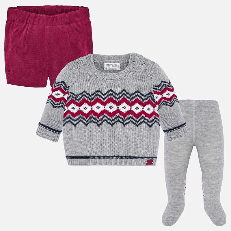 Mayoral Singapore Newborn Boy Outfit Set. Mayoral offers this charming three piece set in grey and red. The top features a graphic pint and the shorts have an elasticated waistband. Crafted in pure cotton, this versatile outfit will always look chic.