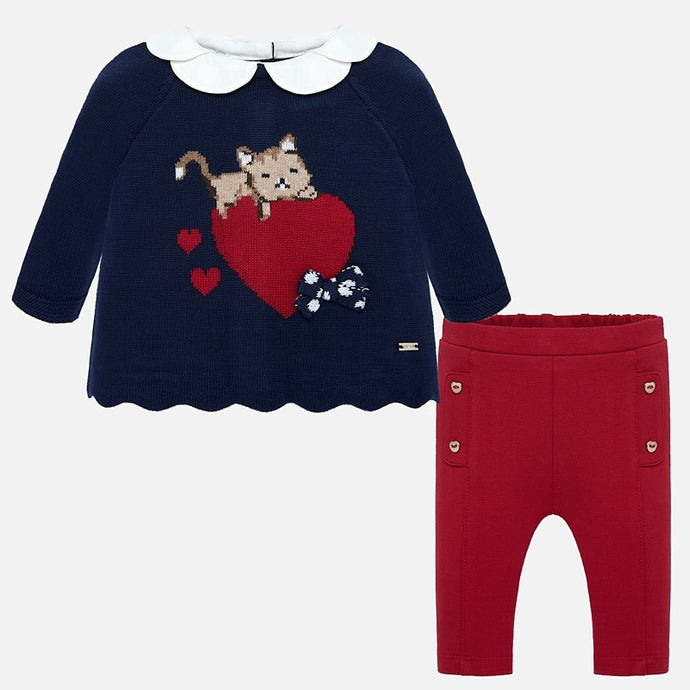 Mayoral Singapore Baby Girl Clothes, Baby Girl outfit set. Mayoral offers you a whole look solution for those chilly days, with red leggings, and a long-sleeved sweater. Made from a soft cotton blend, the top features a charming cat graphic and the leggings have an elasticated waistband. Style with a pair of booties to finish the outfit.