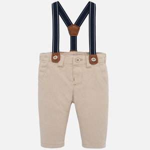 Mayoral Twill Pants with Suspenders