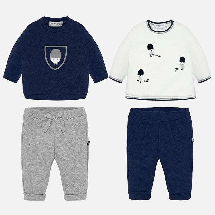 Perfect for playdates and casual days, these navy and grey outfit sets from Mayoral will be a firm favorite in their collection. With soft sweaters and matching pants, this set will be and adorable gift for the newborn in your life.