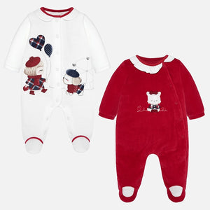 Mayoral Singapore Baby Girl Pajamas. Little ones are guaranteed the sweetest dreams with this set of pajamas from Mayoral. These stylish pajamas include snap-button closures and cute graphics on the front.